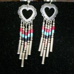 Silver beaded heart dangling earrings